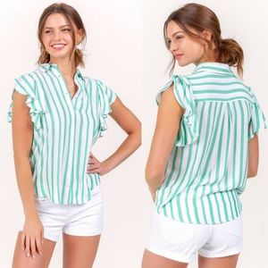 New Francesca's Karson Striped Button Front Top